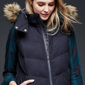 GAP Navy Wool Puffer Vest Faux Fur Hood XL